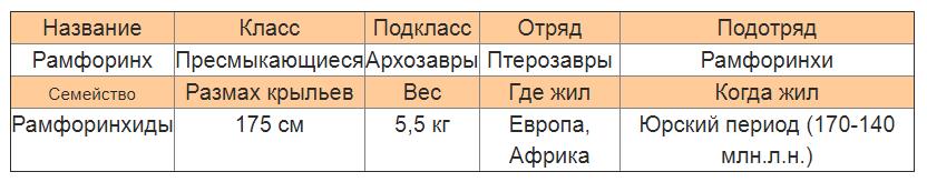 Рамфоринхихарактеристика
